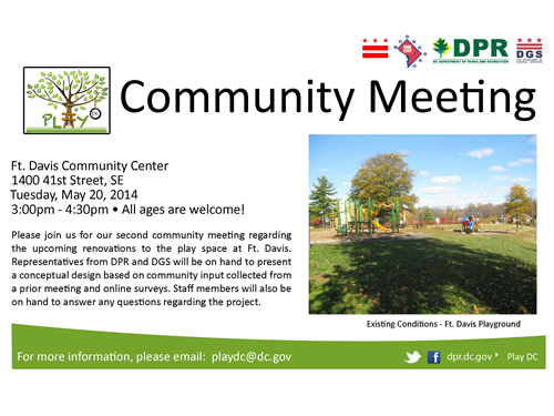 Fort Davis Play DC Playground Community Meeting No. 2 - May 20, 2014