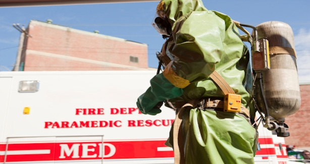 Image of emergency worker in disaster gear
