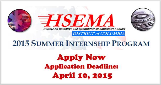 HSEMA 2015 Summer Internship Banner