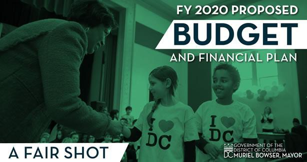 Mayor Bowser with two children -text reading FY2020 Proposed Budget and Financial Plan