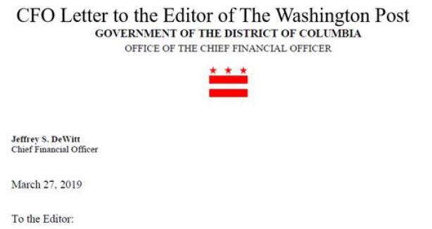 CFO Letter to the Editor of the Washington Post